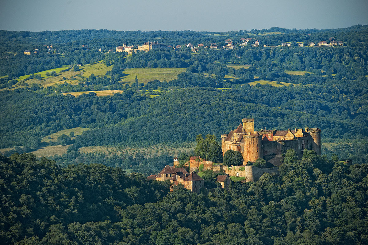 View of the Château de Castelnau-Bretenoux in Dordogne Valley in France