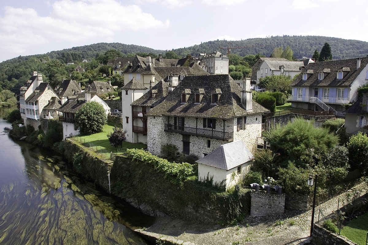 Argentat viewed from the river in Dordogne Valley in France