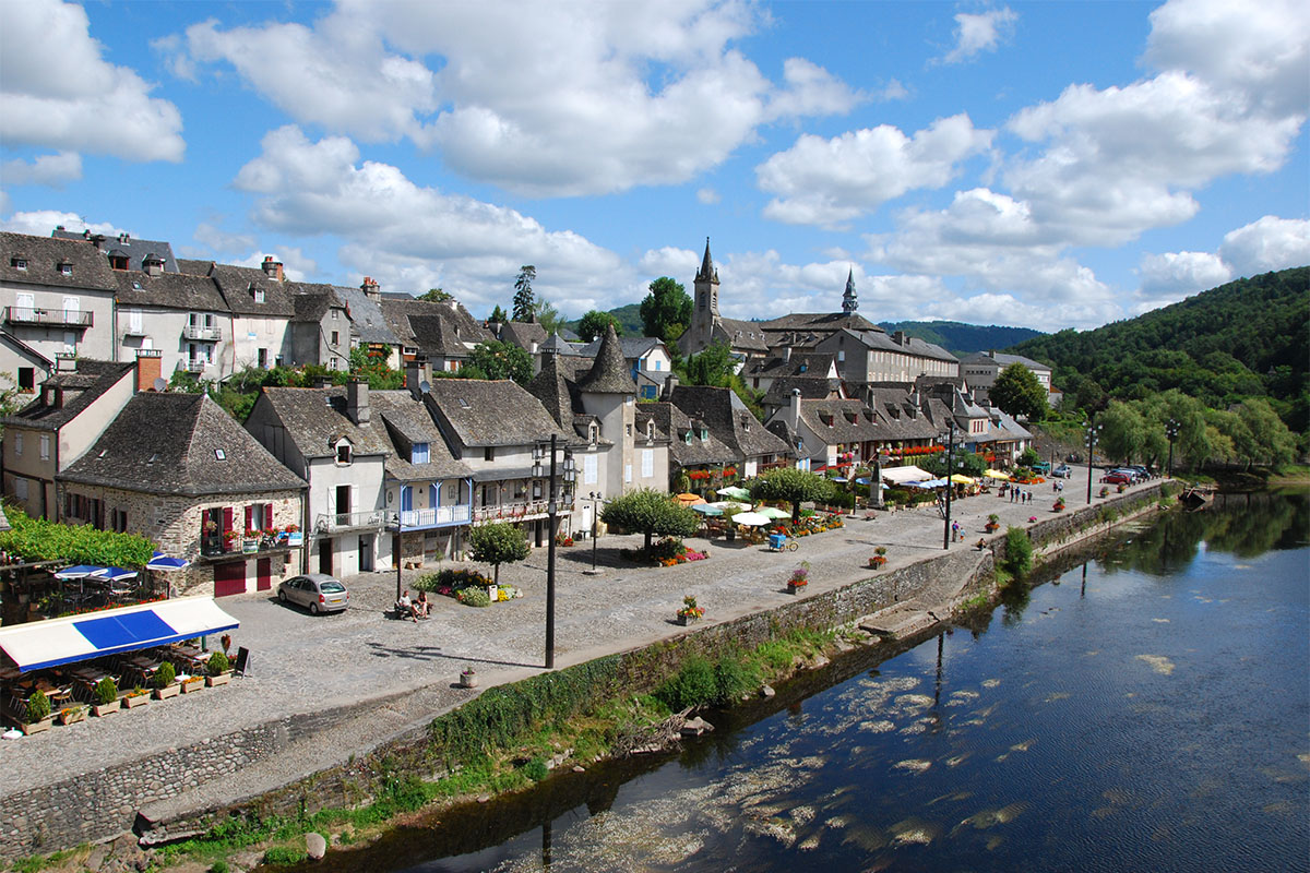 The quays in the small town of Argentat in Dordogne Valley in France