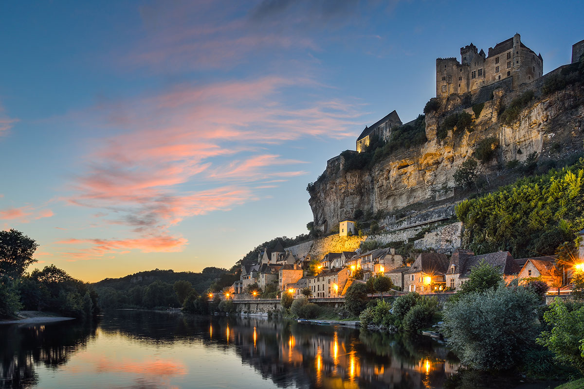 The Château de Beynac by night in Dordogne Valley in France