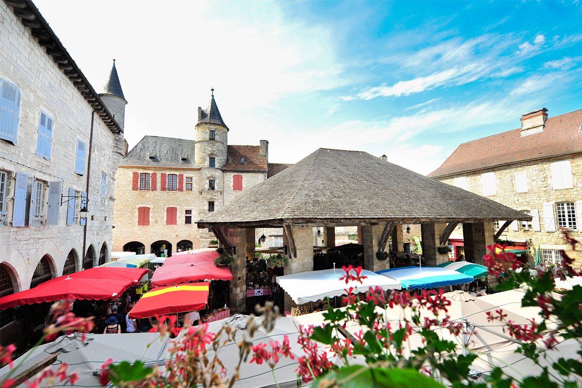 The market in the medieval village of Martel in Dordogne Valley in France