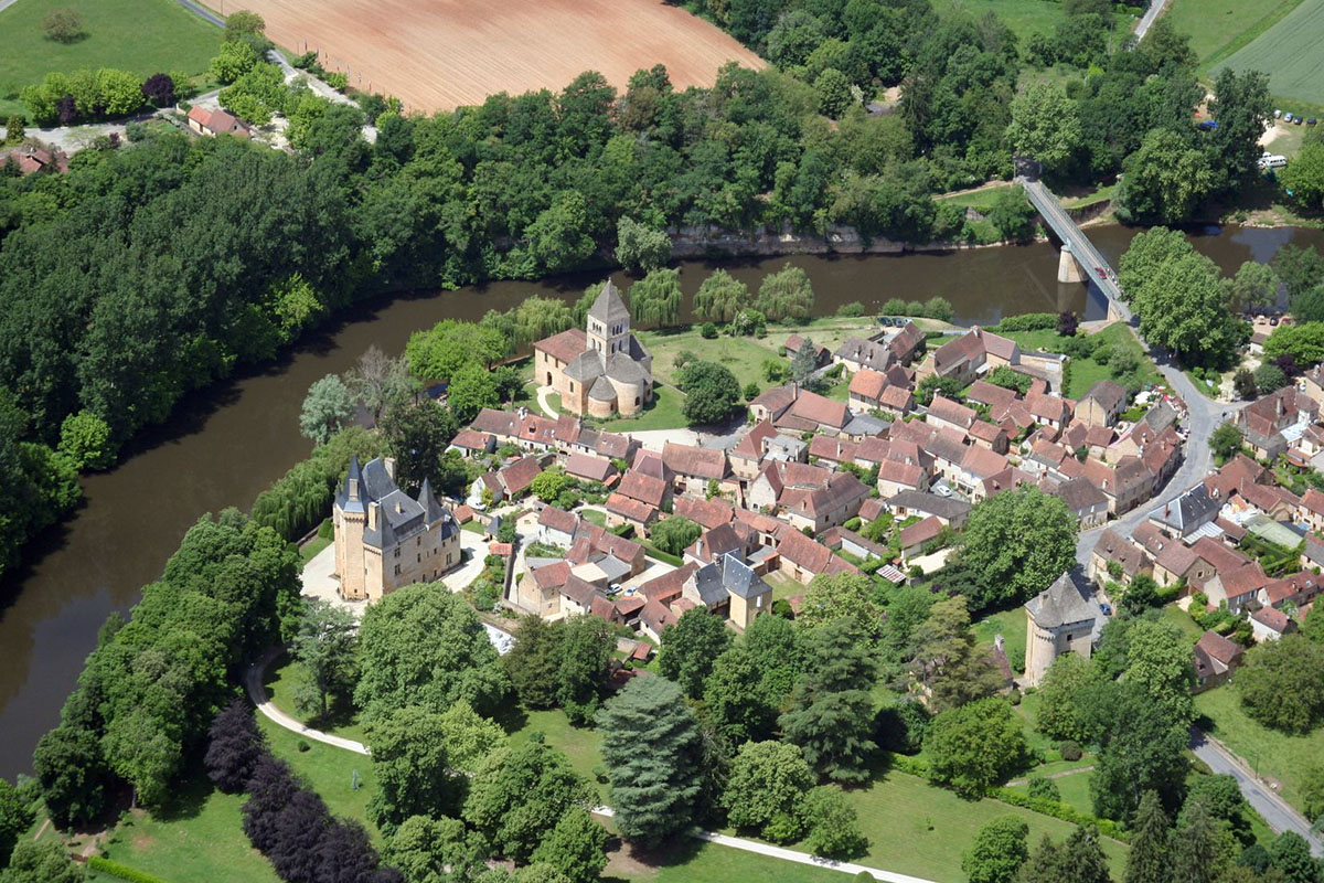 View from above of the village of Saint Leon sur Vézère and the Dordogne River in France
