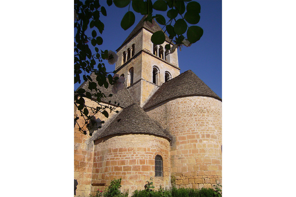 View of the church of Saint-Leon-sur-Vézère in Dordogne Valley in France