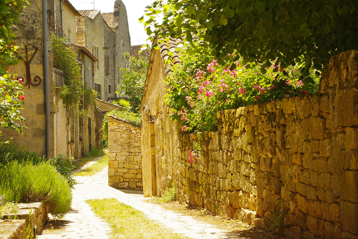 A street in the village of Beaumont-du-Périgord in Dordogne Valley in France