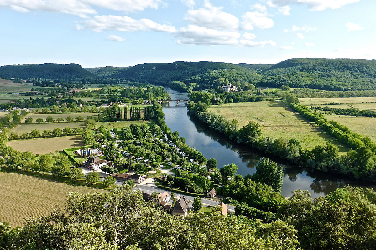 Panoramic view of the Dordogne River from the medieval village of Beynac in France