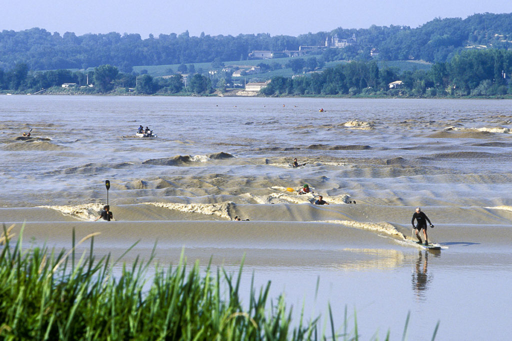 The 'mascaret', tidal bore in english, in Saint-Pardon in the Dordogne Valley in the South West of France