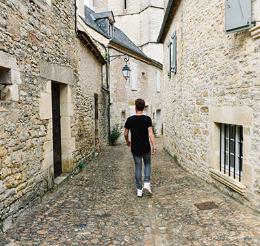 In the street of Martel in Dordogne Valley in France