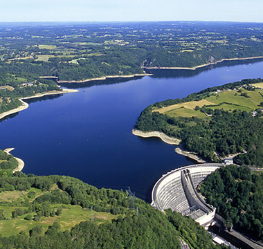 The dam of Bort-les-Orgues in the French department of Corrèze in the Dordogne Valley in France