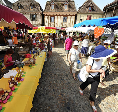 The food market of Bretenoux a small village in the Dordogne Valley in the southwest of France