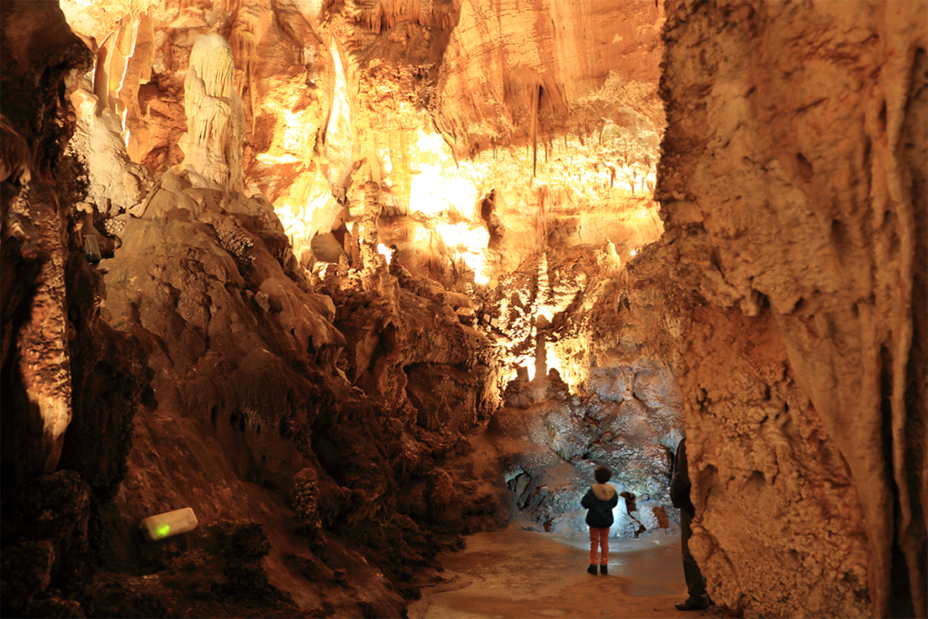 A little boy is looking at stalactics in the La Fage chasm in the Dordogne Valley in the South West of France