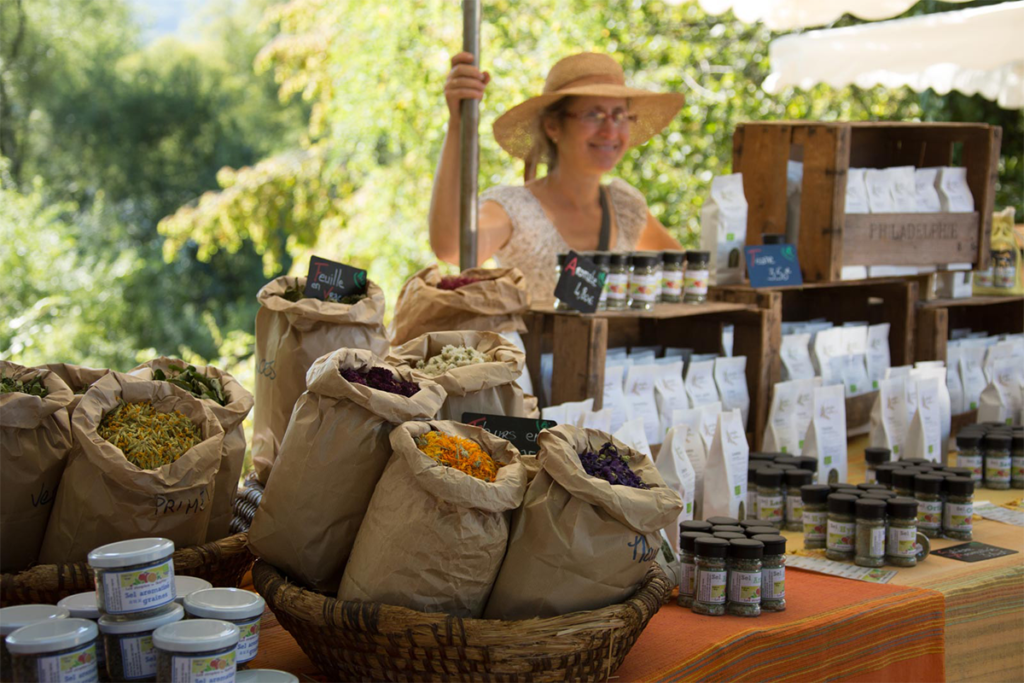 A market stall in the Dordogne Valley in the South West of France