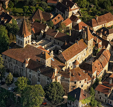 A view from above of the village of Carennac in the Dordogne Valley in the South West of France